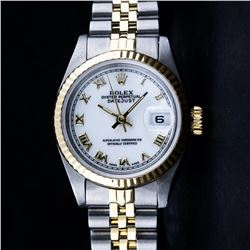 Rolex Ladies 2 Tone 14K Yellow Gold & Stainless Steel White Roman 26MM Datejust