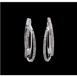0.99 ctw Diamond Earrings - 14KT White Gold