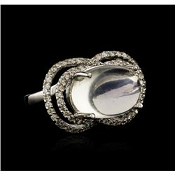 14KT White Gold 0.84 ctw Blue Moonstone and Diamond Ring