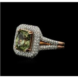4.52 ctw Green Sapphire and Diamond Ring - 14KT Rose Gold