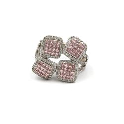 1.43 ctw Pink and White Diamond Ring - 18KT White Gold
