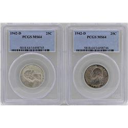 Lot of (2) 1942-D Washington Quarter Coins PCGS MS64