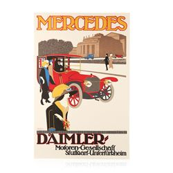 Vintage Mercedes Hand Pulled Limited Edition Lithograph Poster