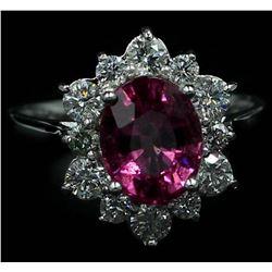 2.82 ctw Pink Tourmaline and Diamond Ring - 14KT White Gold