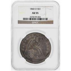 1860-O $1 Seated Liberty Dollar Coin NGC AU55