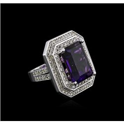 14KT White Gold 11.14 ctw Amethyst and Diamond Ring