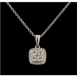 0.51 ctw Diamond Pendant With Chain - 14KT White Gold