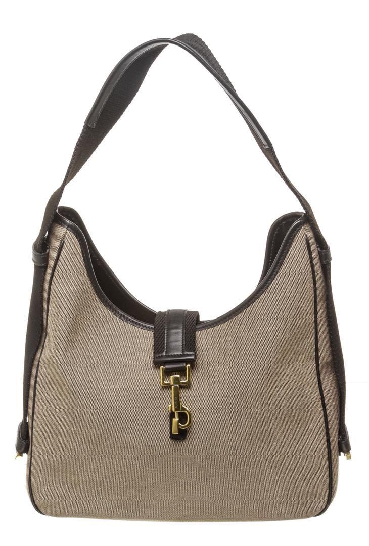 bfa7ef8190a Image 1 : Gucci Beige Canvas Black Leather Trim Jackie Shoulder Bag ...