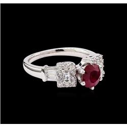 1.37 ctw Ruby and Diamond Ring - 18KT White Gold