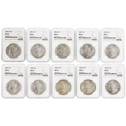 Lot of (10) Assorted $1 Morgan Silver Dollar Coins NGC MS63 & MS64
