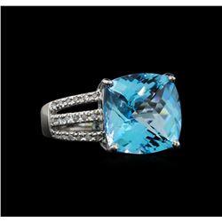14KT White Gold 9.91 ctw Topaz and Diamond Ring
