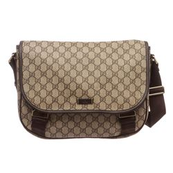 Gucci Beige Brown GG Plus Coated Canvas Leather Messenger Bag