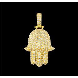 2.00 ctw Diamond Hamsa Pendant - 14KT Yellow Gold