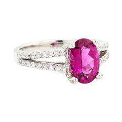 2.56 ctw Rubellite And Diamond Ring - 14KT White Gold