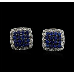 0.93 ctw Sapphire and Diamond Earrings - 14KT White Gold