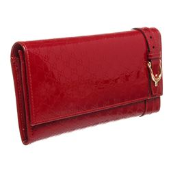 Gucci Red Microguccissima Patent Leather Long Wallet