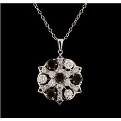 2.10 ctw Tourmaline and Diamond Pendant With Chain - 14KT White Gold