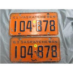 1961 SET OF SASK LICENSE PLATES