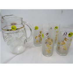 LOT OF 5 (4 MATCHING GLASSES) & JUICE PITCHER