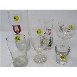 LOT OF 6 ASST GLASSES (NOEL, ETC)
