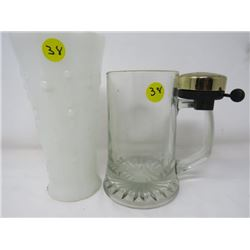 BEER STEIN  (W/BELL) & WHITE GLASS VASE