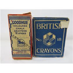 LOT OF 2 CHALK IN BOXES (GOODHUE ; BRITISH CRAYONS)*COLORED*