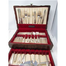 75 Piece Community Cutlery Set Silver Plated In Wooden Box