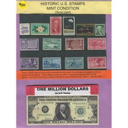 LOT OF HISTORICAL US STAMPS AND NOVELTY 1 MILLION DOLLAR BILL ( STAMPS NEVER USED)