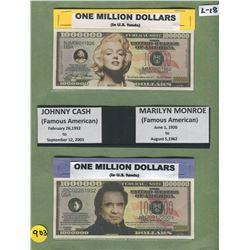 LOT OF 2 NOVELTY MILLION DOLLAR BILLS (JOHNNY CASH, MARYLIN MONROE)