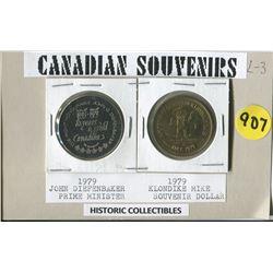 LOT OF 2 SOUVENIR COINS (JOHN DIEFENBAKER, KLONDIKE MIKE) CANADA 1979