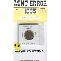 MINT ERROR PENNY (CANADA 1965) *STAMPED OFF CENTER-VERY UNIQUE!*