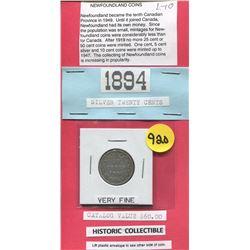 TWENTY CENT COIN (NEWFOUNDLAND CANADA) *1894*
