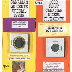 LOT OF 2 COINS (CANADA FIFTY CENT 2002--CANADA NICKEL 1922) *BONUS GOLDEN JUBILEE STAMP*
