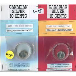 LOT OF 2 DIMES (CANADA) *1963-1967*