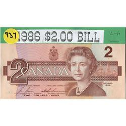 TWO DOLLAR BILL (CANADA) *1986*