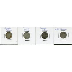 LOT OF 4 CNDN DIMES *YEARS UNKNOWN*