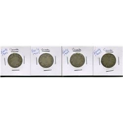 LOT OF 4 CNDN QUARTERS *YEARS UNKNOWN*