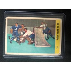 1958-59 Parkhurst #39 Action Around The Net Hockey Card