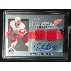 Tomas Holmstrom 2008-09 Upper Deck SP Game-Used Autograph Dual Jersey (82/96)