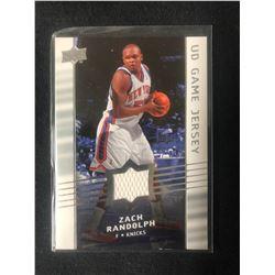 2008-09 Upper Deck UD Game Jersey #GA-ZR Zach Randolph New York Knicks Card