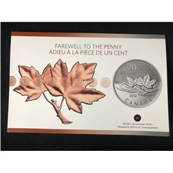 "2012 FAREWELL TO THE PENNY ""$20 FINE SILVER COMMEMORATIVE COIN"" (ROYAL CANADIAN MINT)"