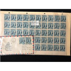 1947 G. BELL FULL SHEET STAMPS W/ CALGARY STAMPEDE COVER
