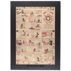 "1935 ""Silly Symphony"" & ""Mickey Mouse"" 18x25 Custom Matted Original Disney Comic Strip Display"
