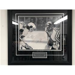 "1978-79 WHA WAYNE GRETZKY & MARK MESSIER DUAL SIGNED 24"" X 20"" FRAMED PHOTO W/ WG COA"