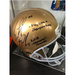 Everett Golson Signed Notre Dame Fighting Irish Helmet Inscribed (JSA Hologram)