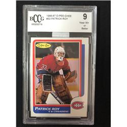 1986-87 O-Pee-Chee #53 Patrick Roy Rookie Card (9 Near Mint Or Better)