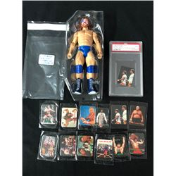 VINTAGE WWF ACTION FIGURE AND TRADING CARDS LOT