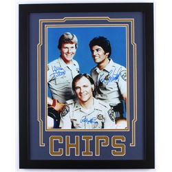 "Erik Estrada, Robert Pine  Larry Wilcox Signed ""CHiPs"" 18x22 Custom Framed Photo Display (JSA COA)"