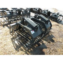 """Stout 72"""" rock bucket/grapple w/hose ends-tines 3 1/2"""" on center-New"""