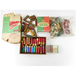 ASSORTED PAPER AND PLASTIC SHOTSHELLS, EMPTIES, COLLECTIBLE BOXES, WADS